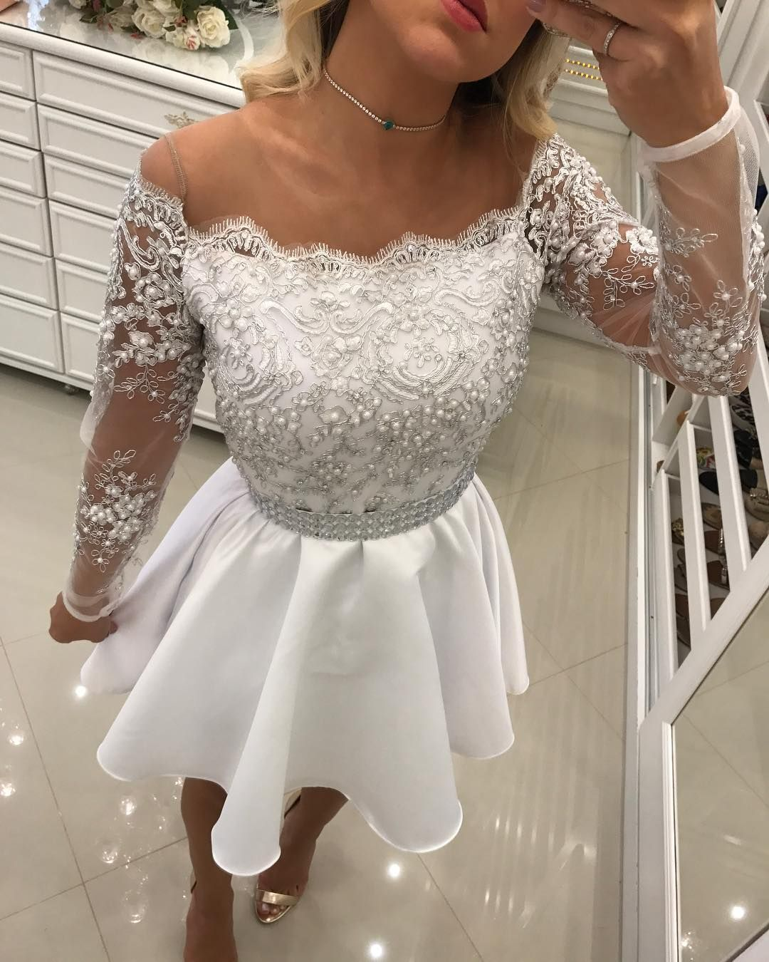 Fit And Flare Pearls Short Homecoming Dress With Full Sleeves In 2021 Homecoming Dresses Short Lace Homecoming Dresses White Homecoming Dresses [ 1350 x 1080 Pixel ]