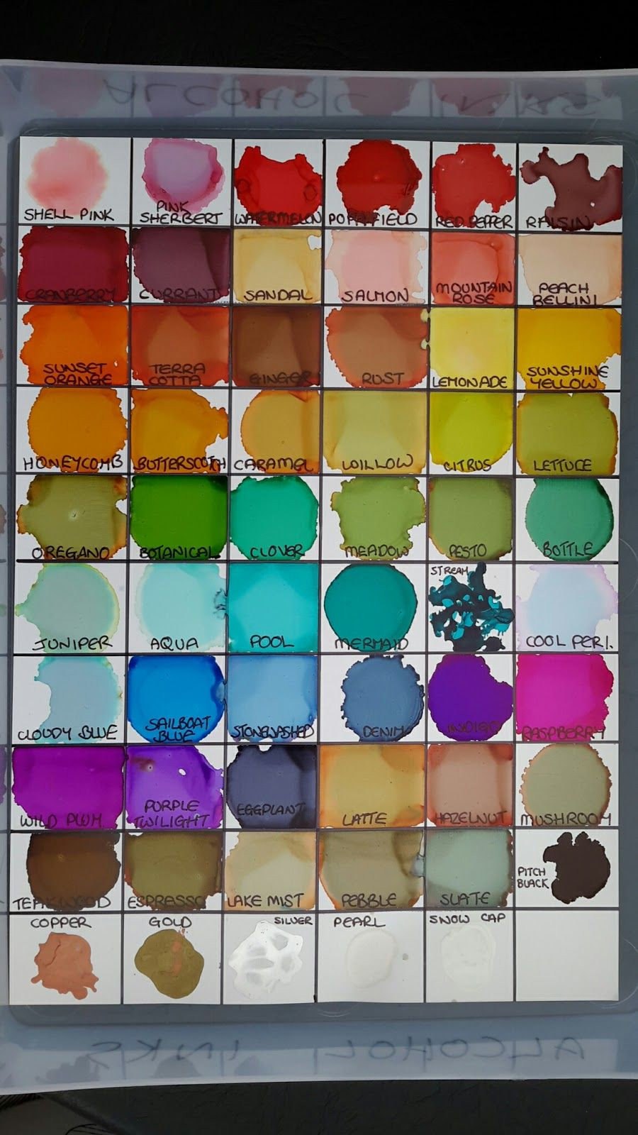 Alcohol Ink Chart & Storage