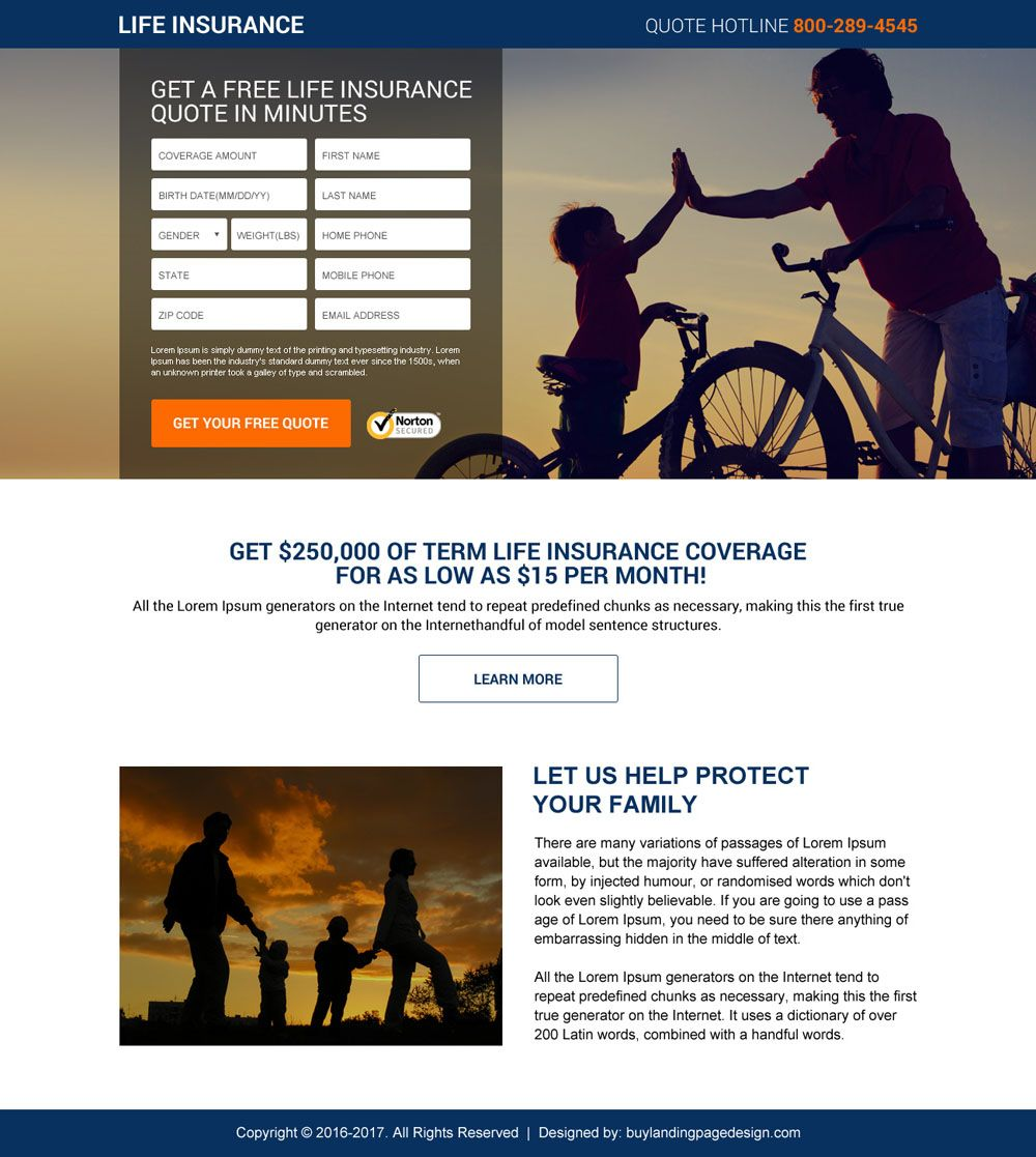 Free Life Insurance Quote Best Life Insurance Quotes Mini Landing Page Design  Life