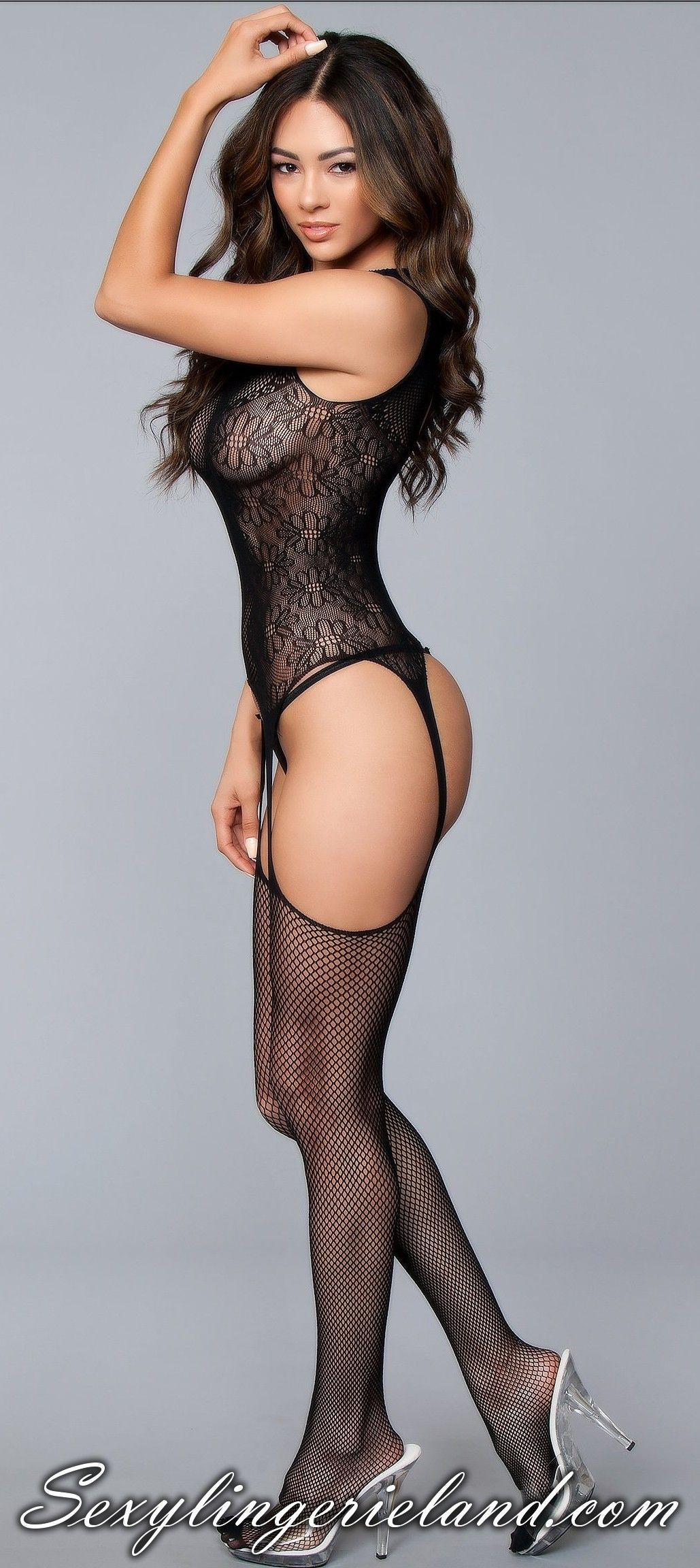 ad0f2c53c Black girls  lingerie with sexy look. Suspender halter neck  bodystocking  will perfectly enhance your body. Plus size is also available. Alluring  design.