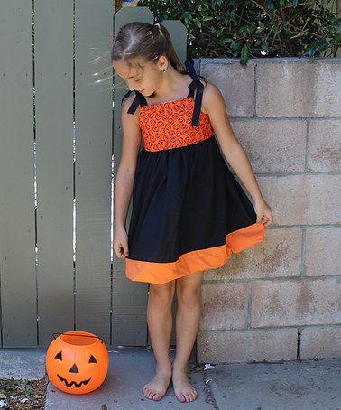 Another great find on #zulily! Black & Orange Pumpkin Dress - Toddler & Girls #zulilyfinds
