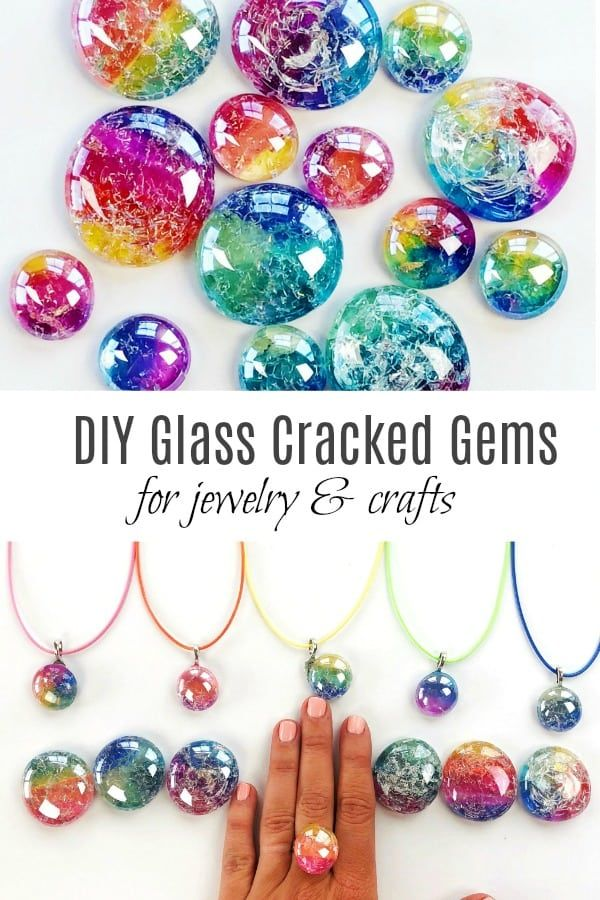 DIY Glass Cracked Gems and Stones Jewelry #craftsforkids