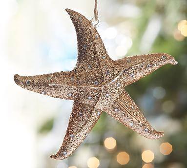 Glass Starfish Ornament Coastal Christmas Decor Pottery