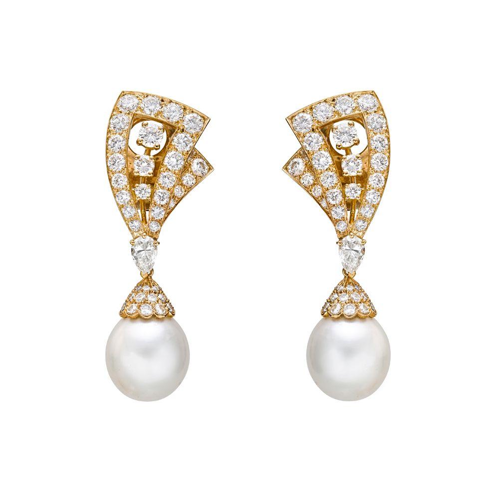 Van Cleef Arpels Lamballe Diamond Pearl Drop Earrings Van