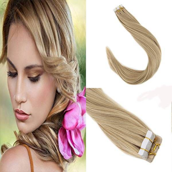 Tape In Blonde Highlighted Human Hair Extension 1622 Human Hair
