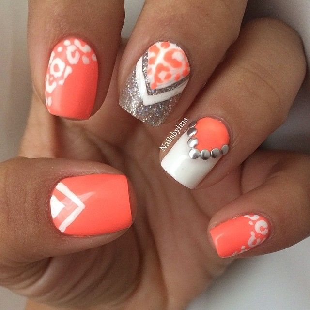 Not all the different nail art. just on one or two nails with the gorgeous  coral color for spring/summer! The nail would look pretty with just the  silver ... - Not All The Different Nail Art.. Just On One Or Two Nails With The