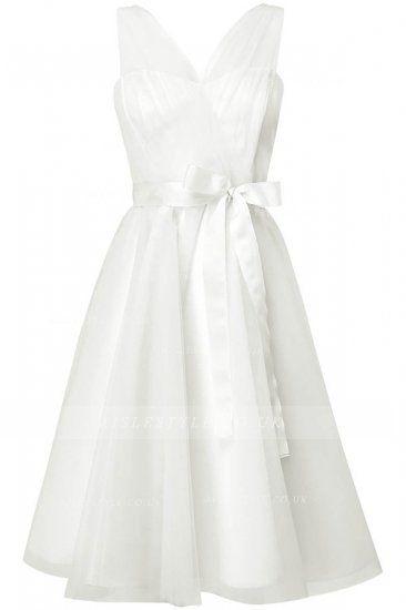 Sleeveless V Neck A-line Tulle Wedding Dress with Sash