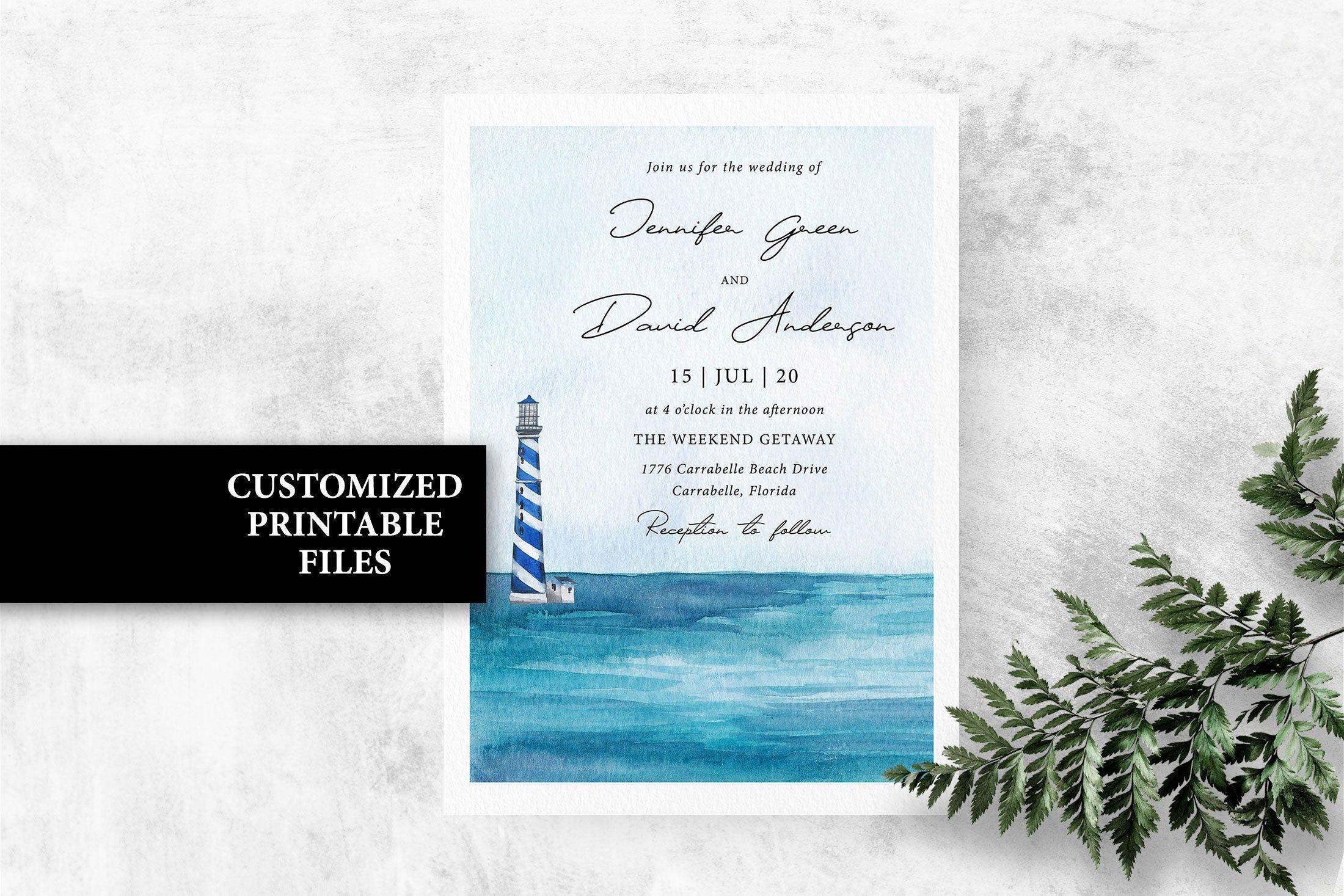 Digital File Printable Lighthouse Wedding Invitation with RSVP Card