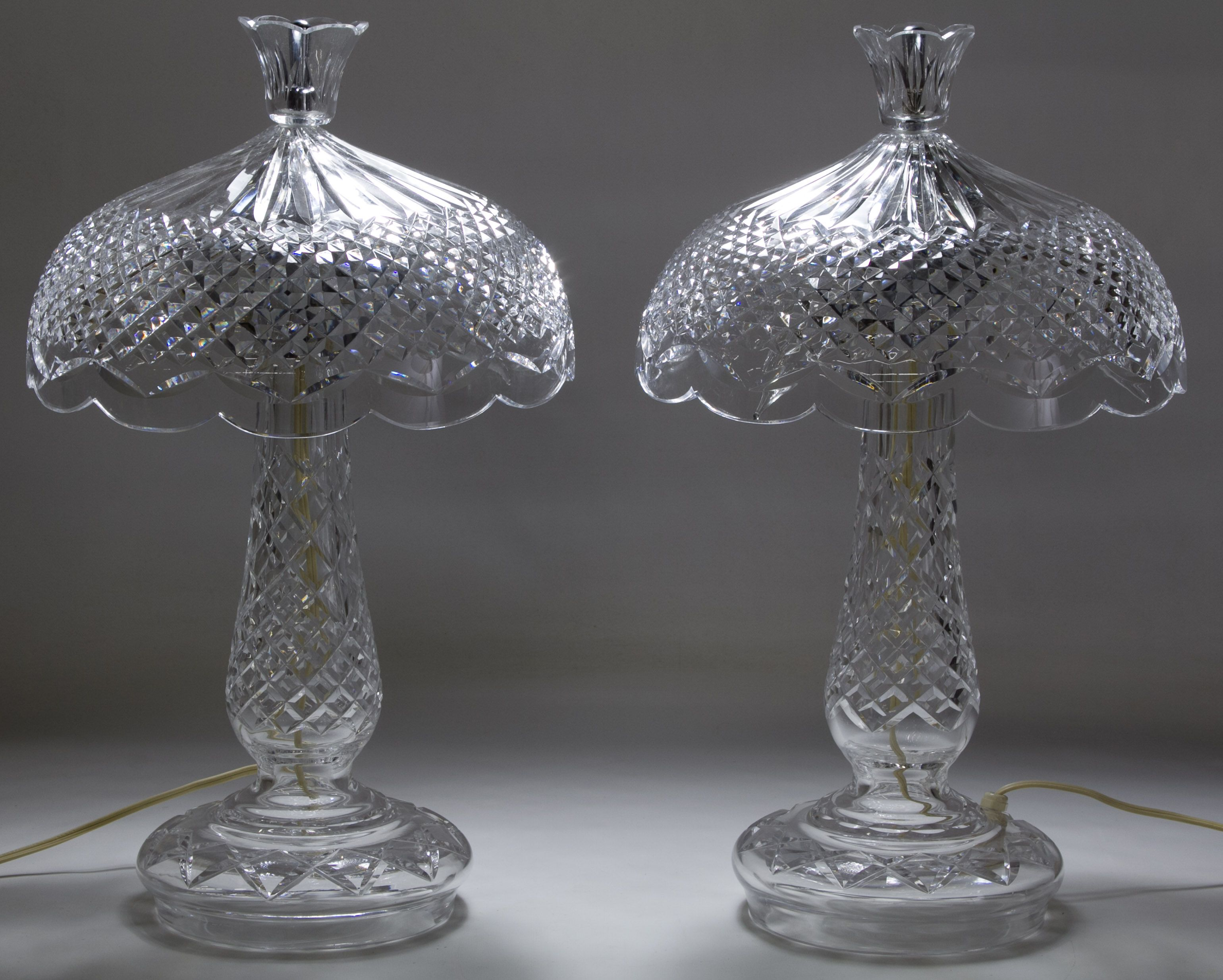 Lot 382 Waterford Crystal Achill Table Lamps Irish Stamped