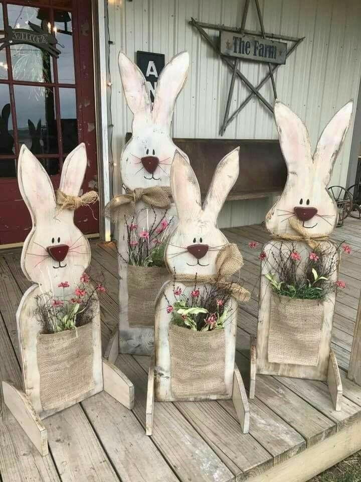 Wood Easter bunnies