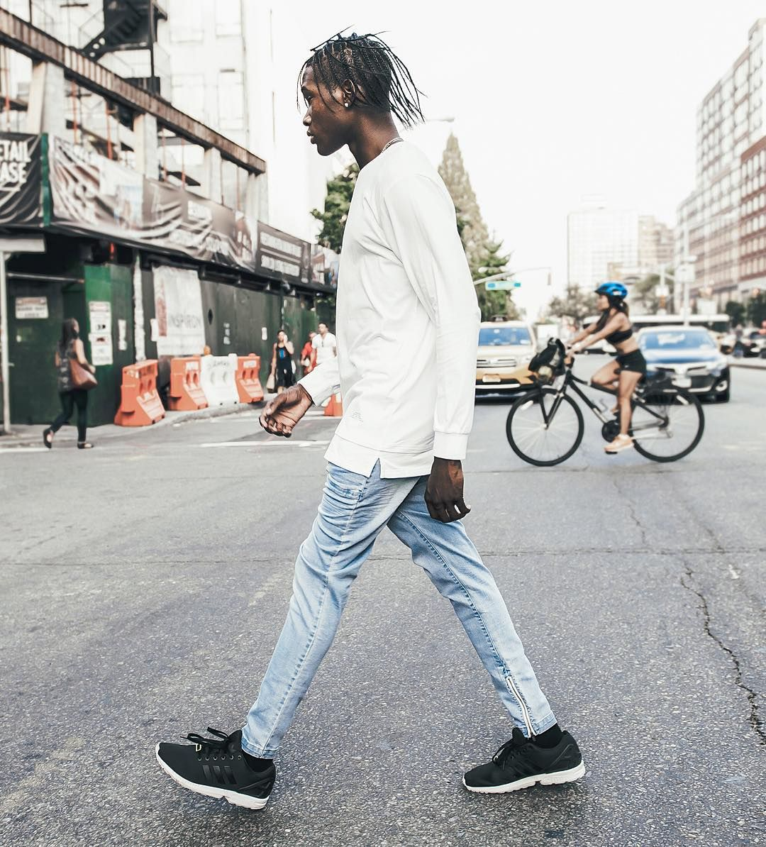 """Walk slow homie. I Love Ugly essentials. (Denim zespy paired with our layered long sleeve tee) #iloveugly"""