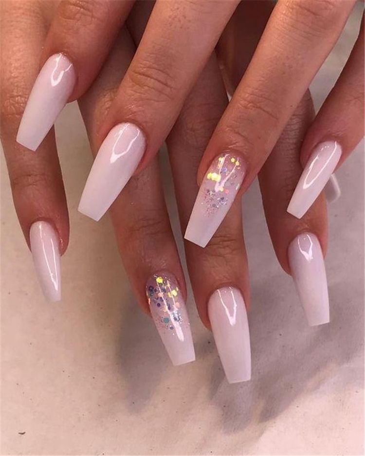 55 Attractive And Simple Winter Acrylic Coffin Nails To Try This