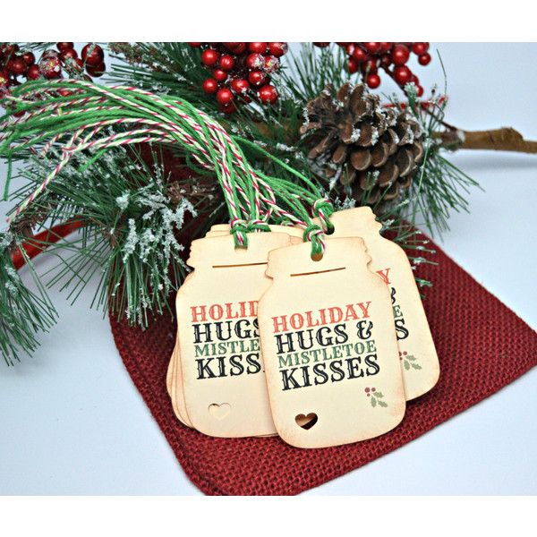 Country Christmas Mason Jar Tags, Rustic Holiday Gift Wrap, Country