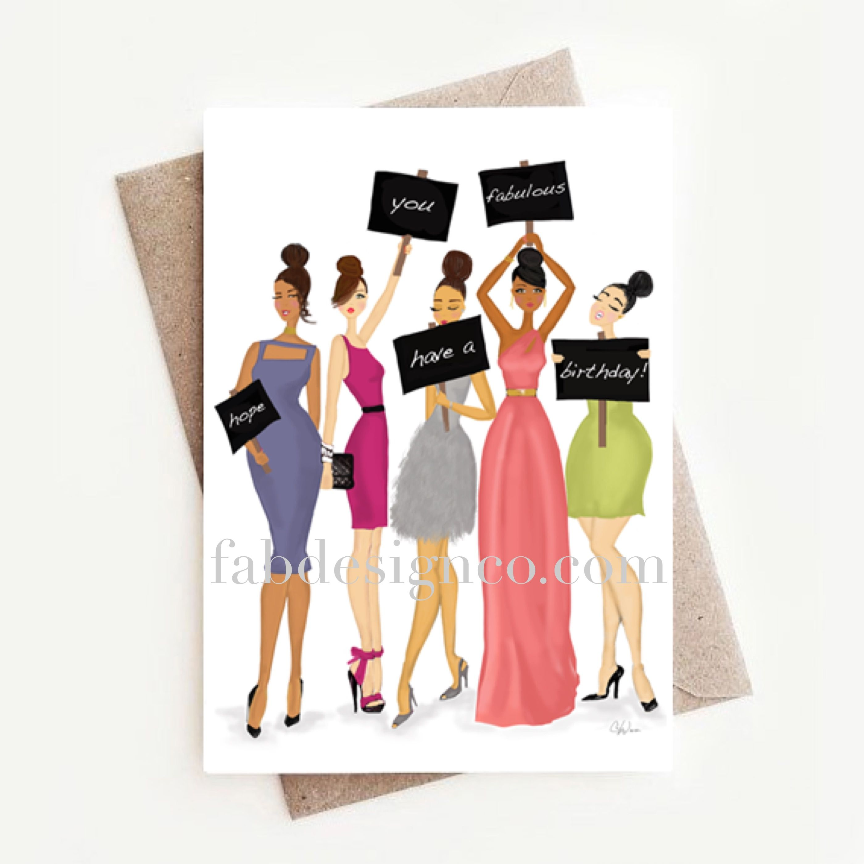 Birthday greeting card fashionista african american shop fab a funny multicultural black or african american fashion birthday greeting card assortment from fab design company featuring fashionistas and fun messages kristyandbryce Choice Image