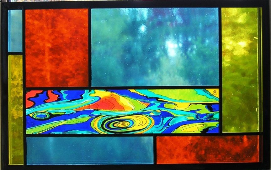 Tempête tropicale   Tropical storm Peinture sur verre insérée dans