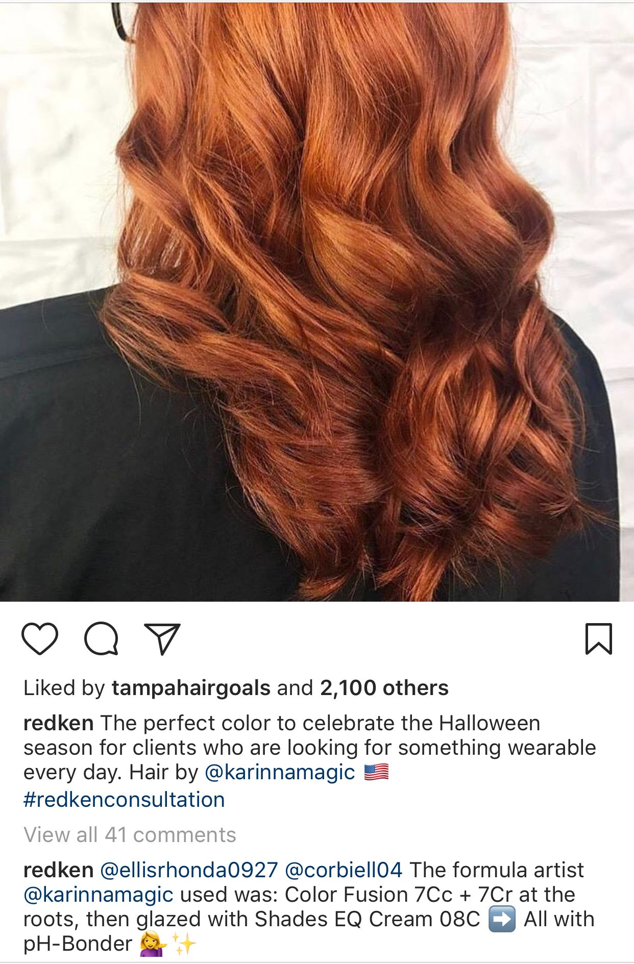 Pin By Alexia Jasmine On Colorful Hair Red Copper Hair Color Hair Color Formulas Redken Hair Color