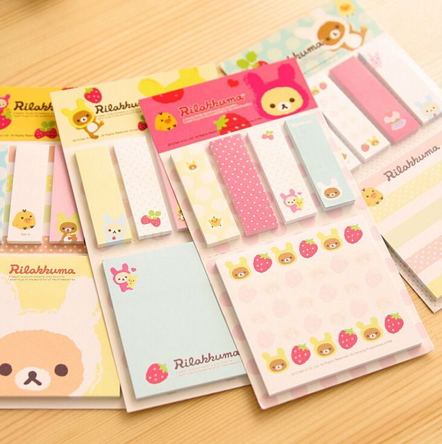 Kawaii Rilakkuma Planner Sticker útiles escolares papelería notas adhesivas Memo Pad bloc de notas Post it Papelaria Filofax Papel