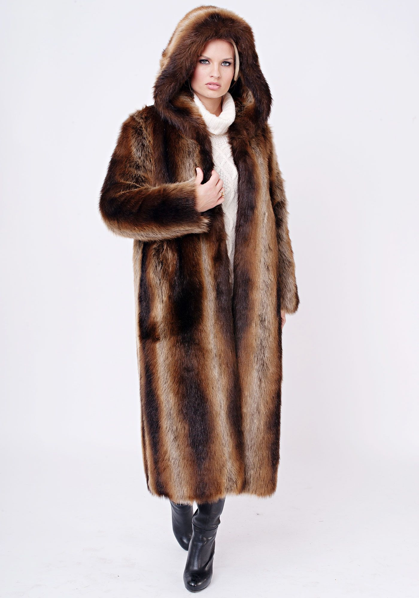 Tanuki Hooded Full-Length Faux Fur Coat | Fabulous-Furs | Fur9 ...