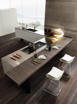 Minimalist Kitchen The Perfect Balance Of A Modern White Kitchen With A Rich Wood Bar Casual
