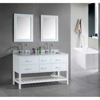 London 60Inch Double Sink Bathroom White Vanity Set  Bathroom Stunning Design Element Bathroom Vanity Design Ideas