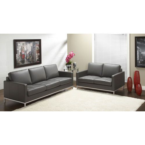 Top Grain Leather Sofa Costco: Sorrento Grey Top Grain Leather Sofa And Loveseat