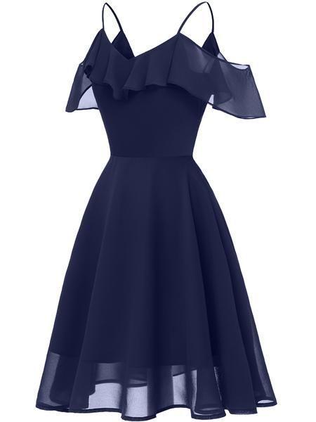 Photo of LaceShe Women's Flowy Strapless Shoulder Chiffon Dress