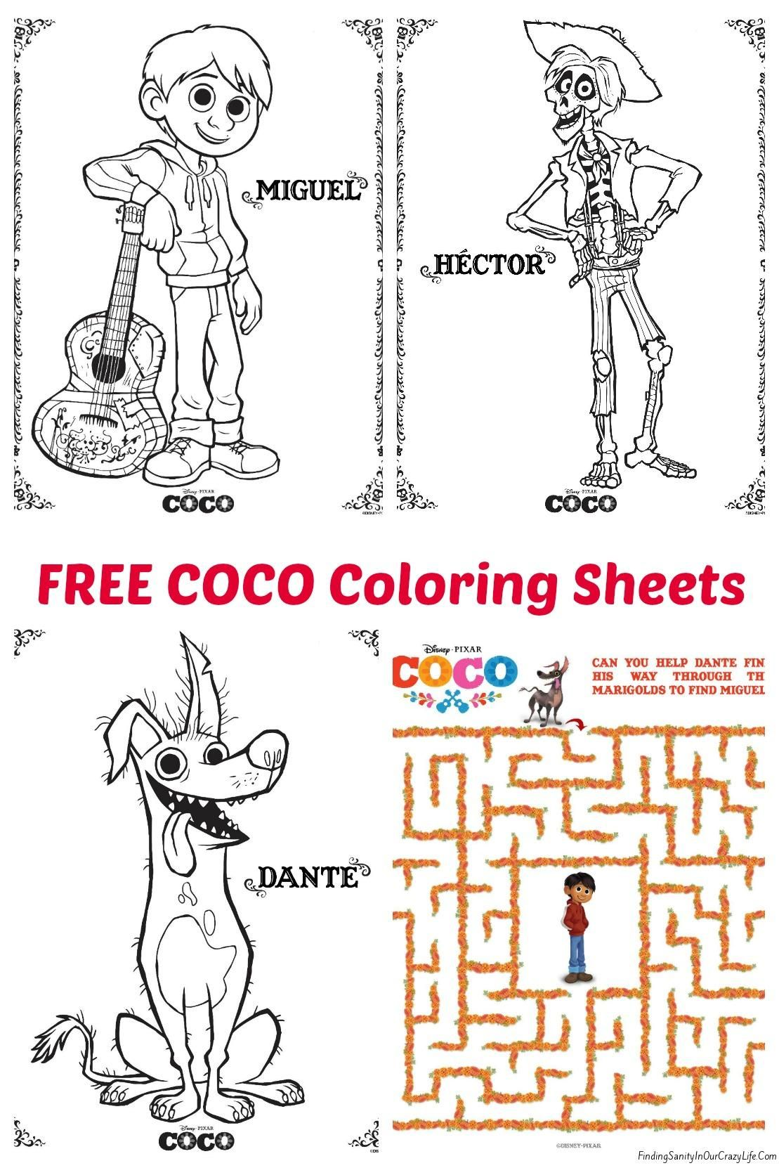 Pixar COCO Coloring Sheets - #PixarCocoEvent | Pinterest | Tiernas ...
