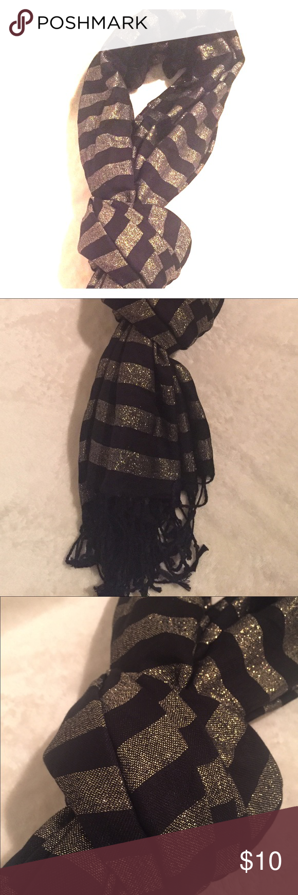 Stripe Scarf Add some shimmer to your outfit. The scarf is embellished with gold threading to make stripes. Square scarf 40inX76in. Can be worn multiple ways! Accessories Scarves & Wraps