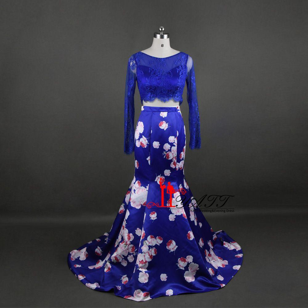 Royal blue floral print beading lace satin floor length trumpet