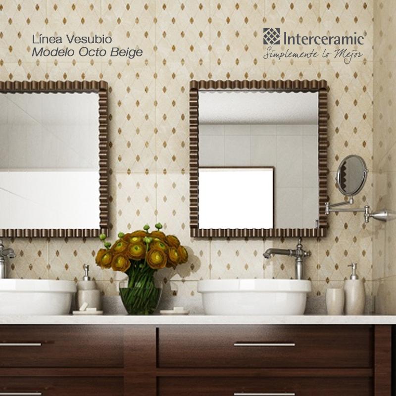 En pared de espejos l nea vesubio modelo octo beige - Paredes de banos modernos ...