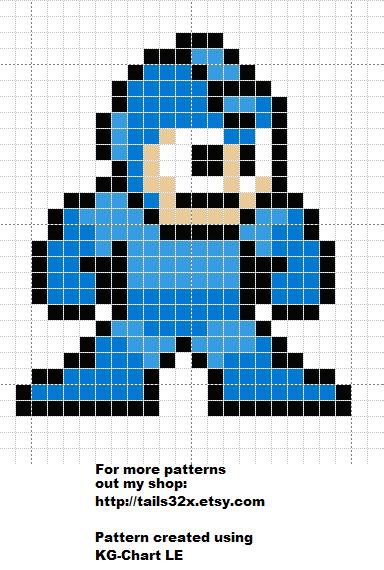 Pixel Stitch Mega Man Pattern For Cross Stitch Needlepoint And Bead Sprite Cross Stitch Bead Sprite Mega Man