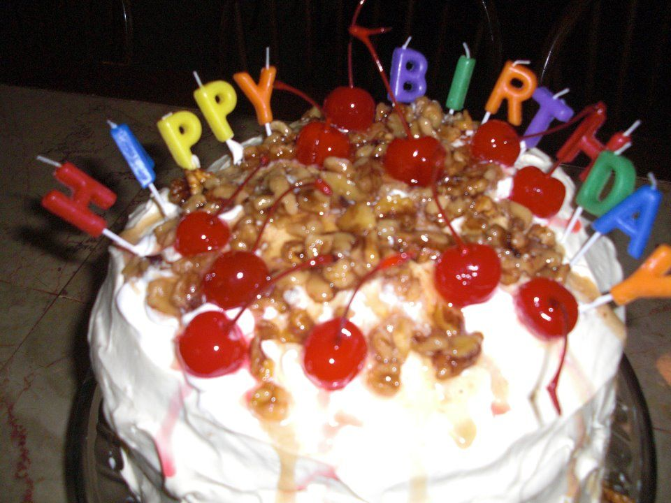 BJ's 6 layer banana split cake with wet nuts & candles~ we bake all occasion cakes~
