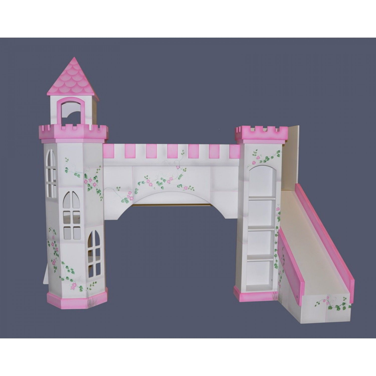 Leeds Castle Bunk Bed Hand Painted w Octagonal Tower & Slide