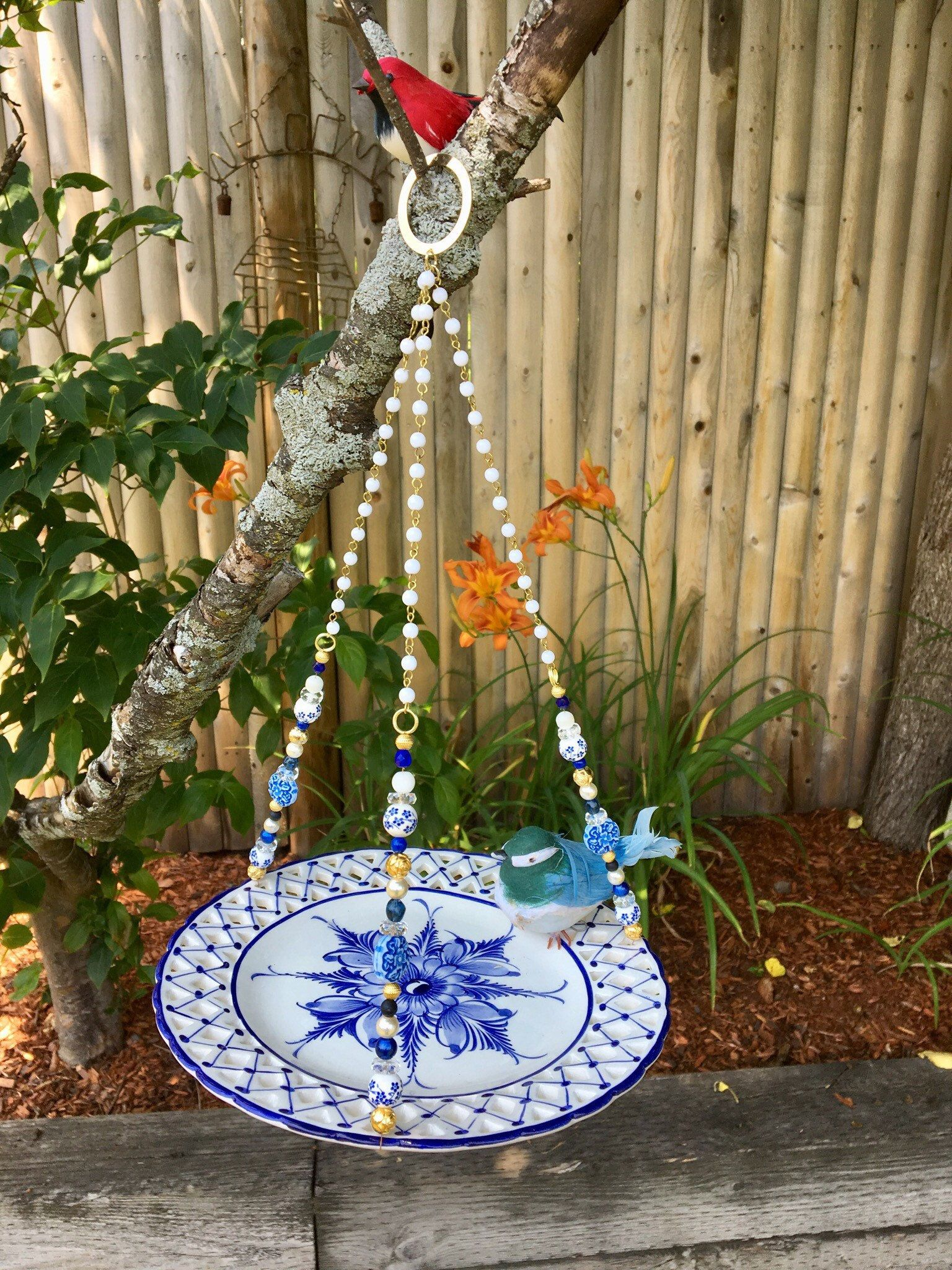 Blue White Dish Bird Feeder, Repurposed Plate Bird Feeder