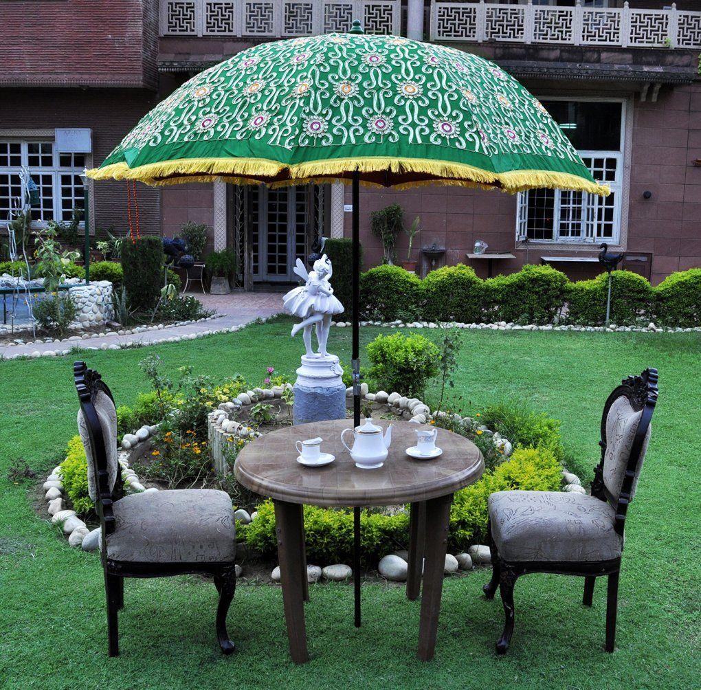 Designer Indian Large Garden Parasol Outdoor Umbrella Green Color:  Amazon.co.uk: