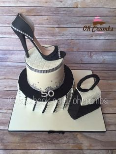 50th bling shoe and handbag cake – Cake by Oh Crumbs #handbags50th