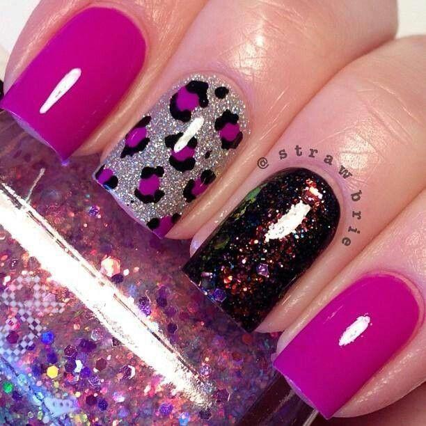 Magenta Silver Black Multi Color Leopard Print Nail Design Nails Best Acrylic Nails Leopard Nails