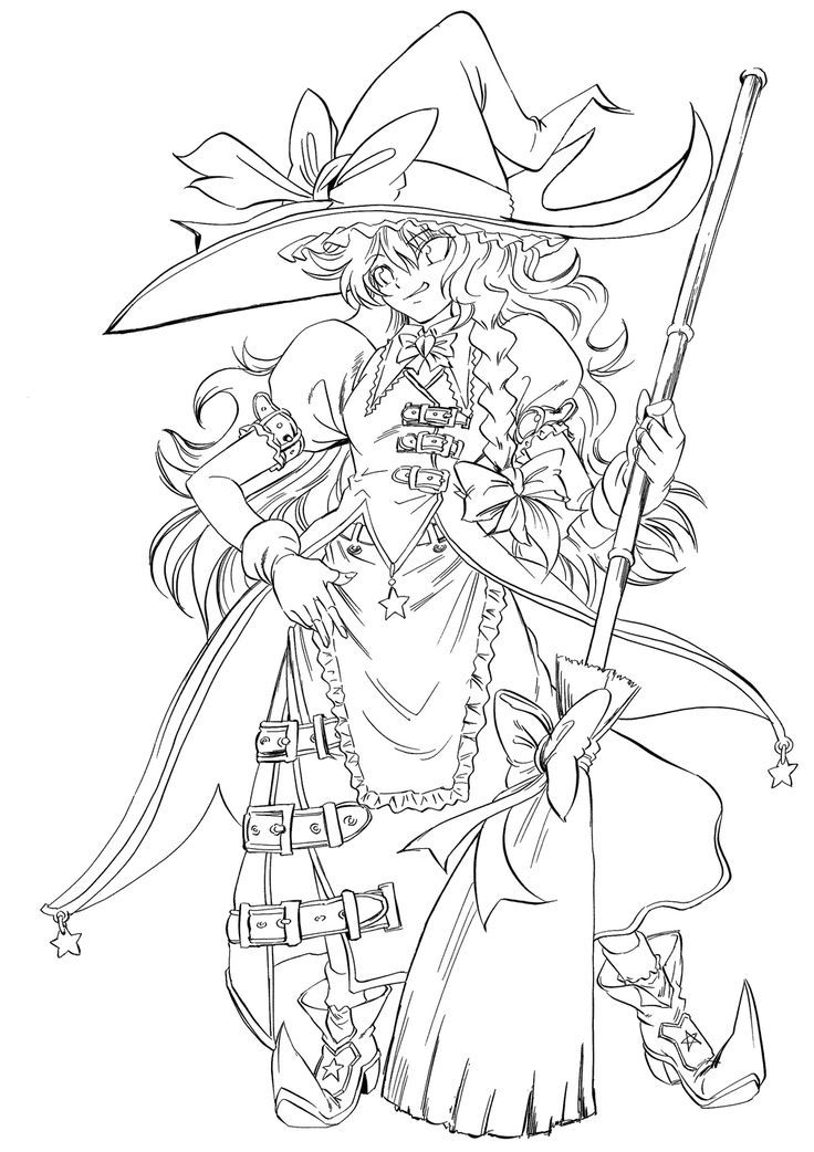 Anime Coloring Printable Pages Witch Coloring Pages Manga
