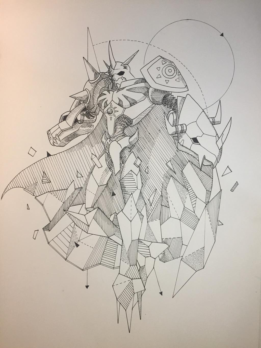 Geometric Omegamon By Wabbuh On Deviantart In 2020 Digimon Tattoo Digimon Tamers Digimon