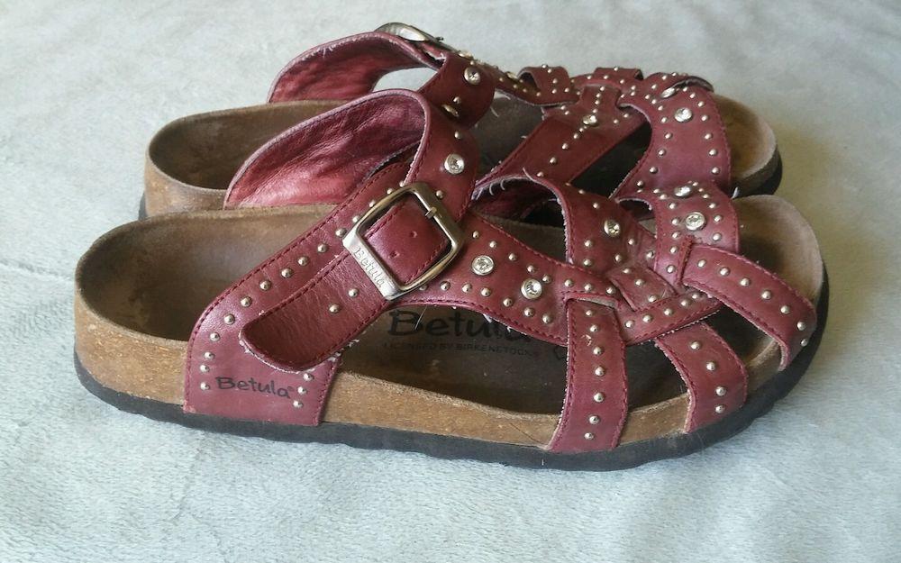 854a6b00298b Birkenstock Betula Lambada Red Leather Sandals with rhinestones size 37   Betula  Slides