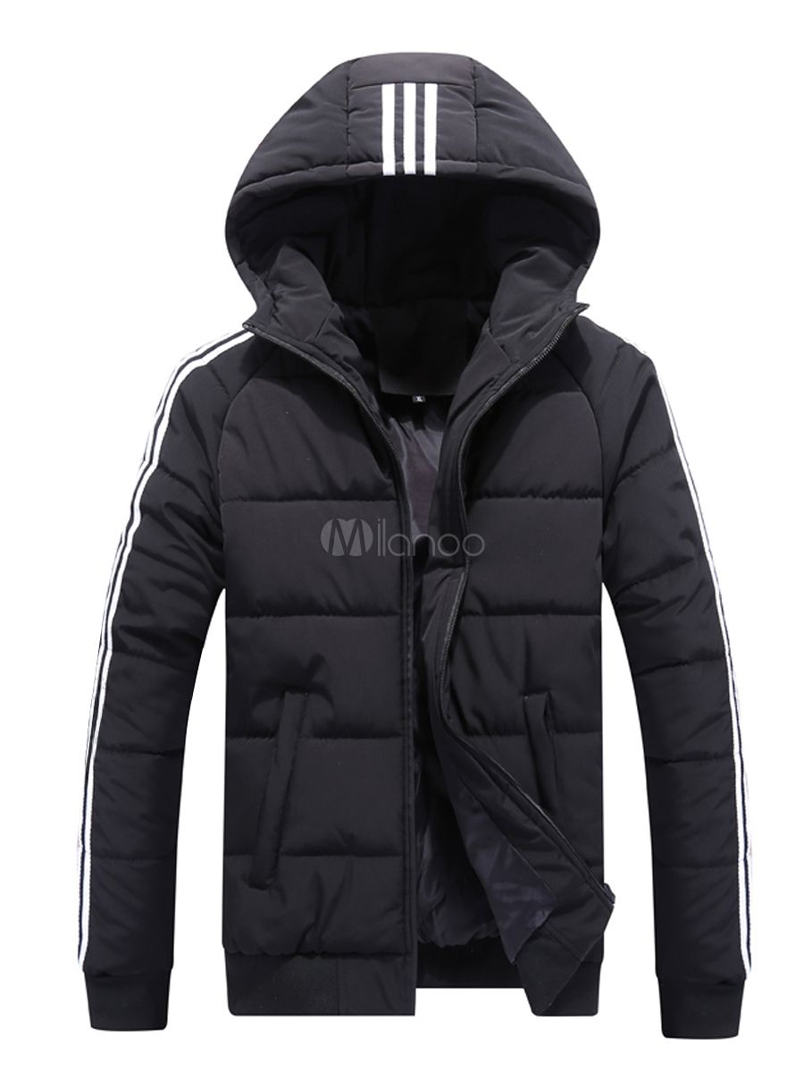 Black Quilted Jacket Stripe Hooded Puffer Jacket Cotton Fill Plus Size Men Padded Coat Black Quilted Jacket Plus Size Men Leather Jacket Men [ 1200 x 900 Pixel ]