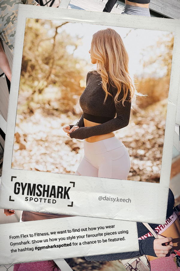 We love this style from Daisy, spotted wearing Gymshark. #Gymshark #Gym #Sweat #Train #Perform #Seam...