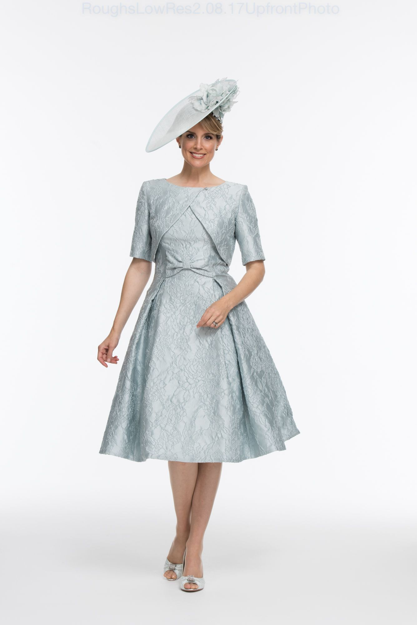 Fifties style dress and jacket in duck egg jacquard also available ...