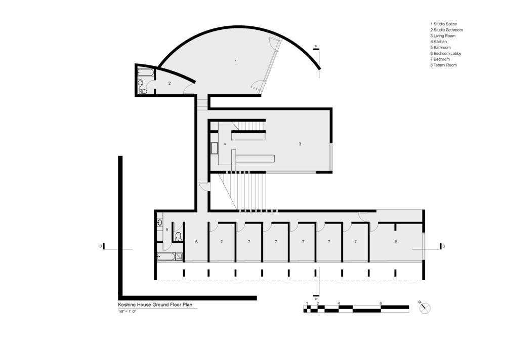 Koshino House Ground Floor Plan. Tadao Ando | Tadao Ando ... on
