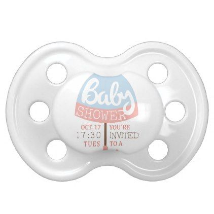 baby shower invitation design template with umbrel pacifier