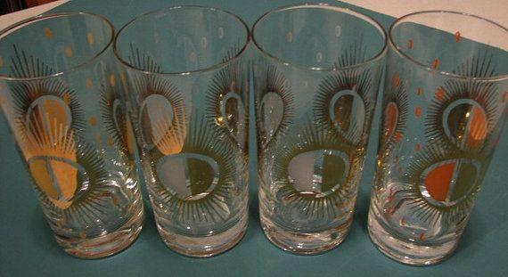Fred Press Vintage MidCentury Glasses Set of 4 Sunburst Pattern