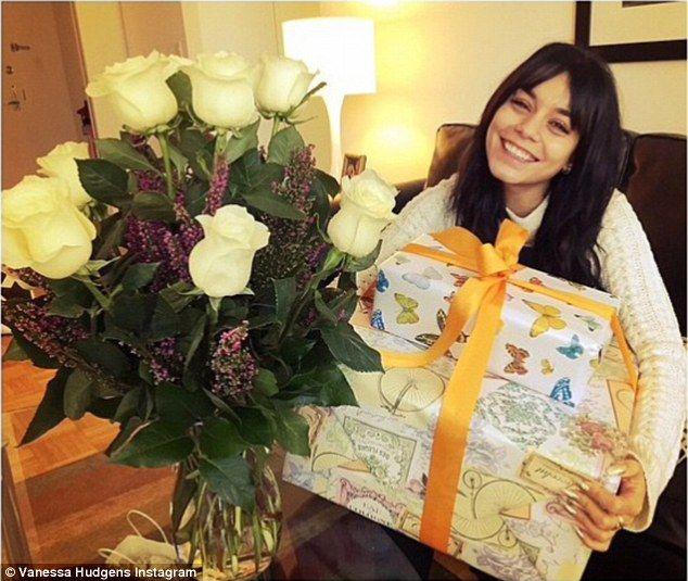 Birthday girl: Vanessa Hudgens posted this photo on Sunday, thanking her boyfriend Austin ...