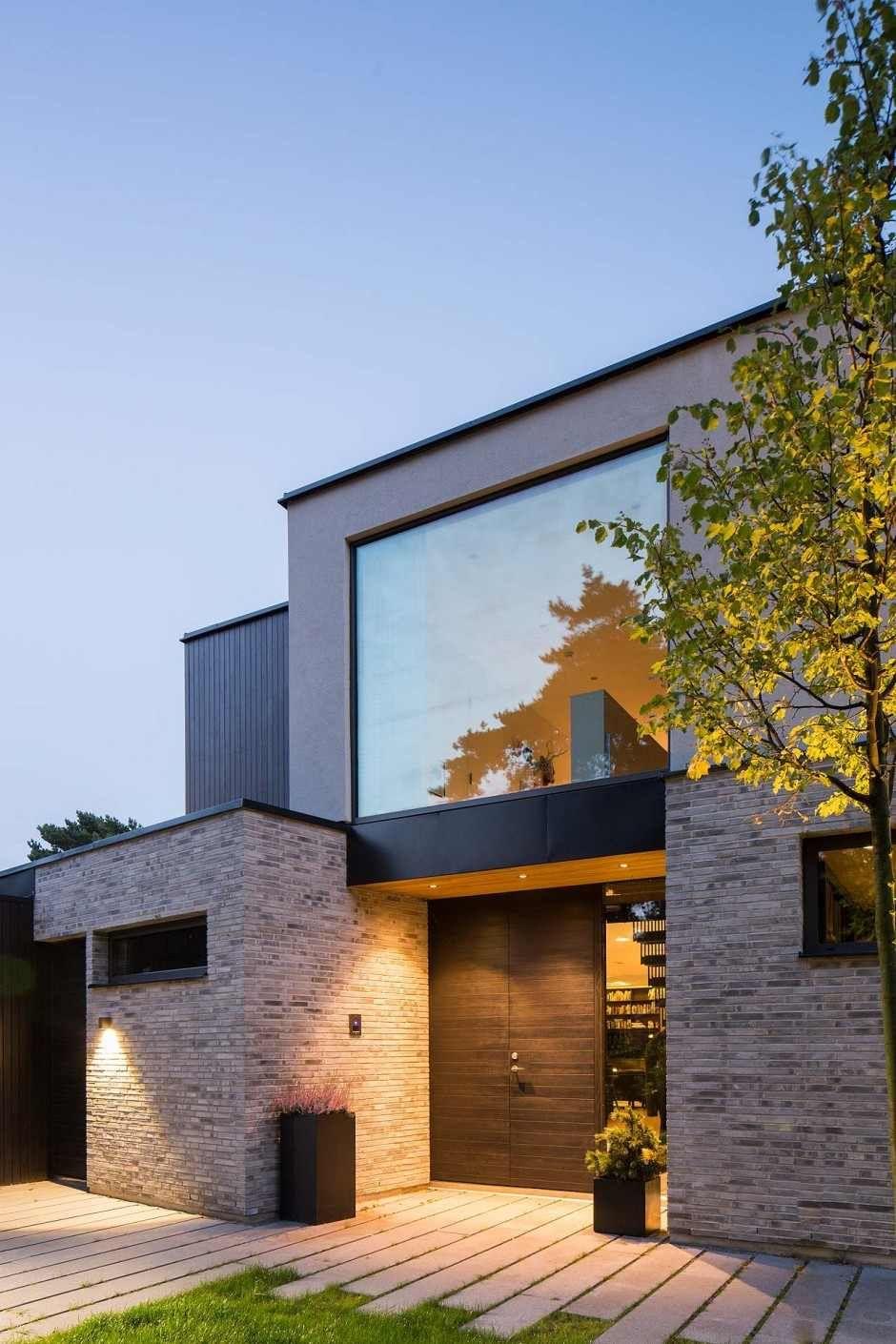 Einfamilienhaus treffen klinker neubau eingang moderne architektur haus wohn architektur moderne häuser architektur design