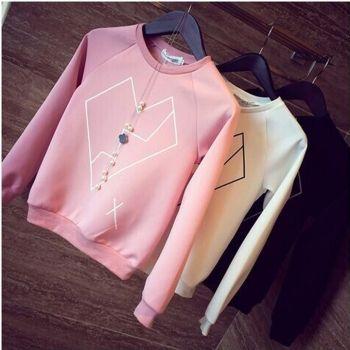 Women Geometric Heart Print Long Sleeve Crew Neck Pullover Shirt Blouse Candy Casual Sweatshirt Jumper Tops