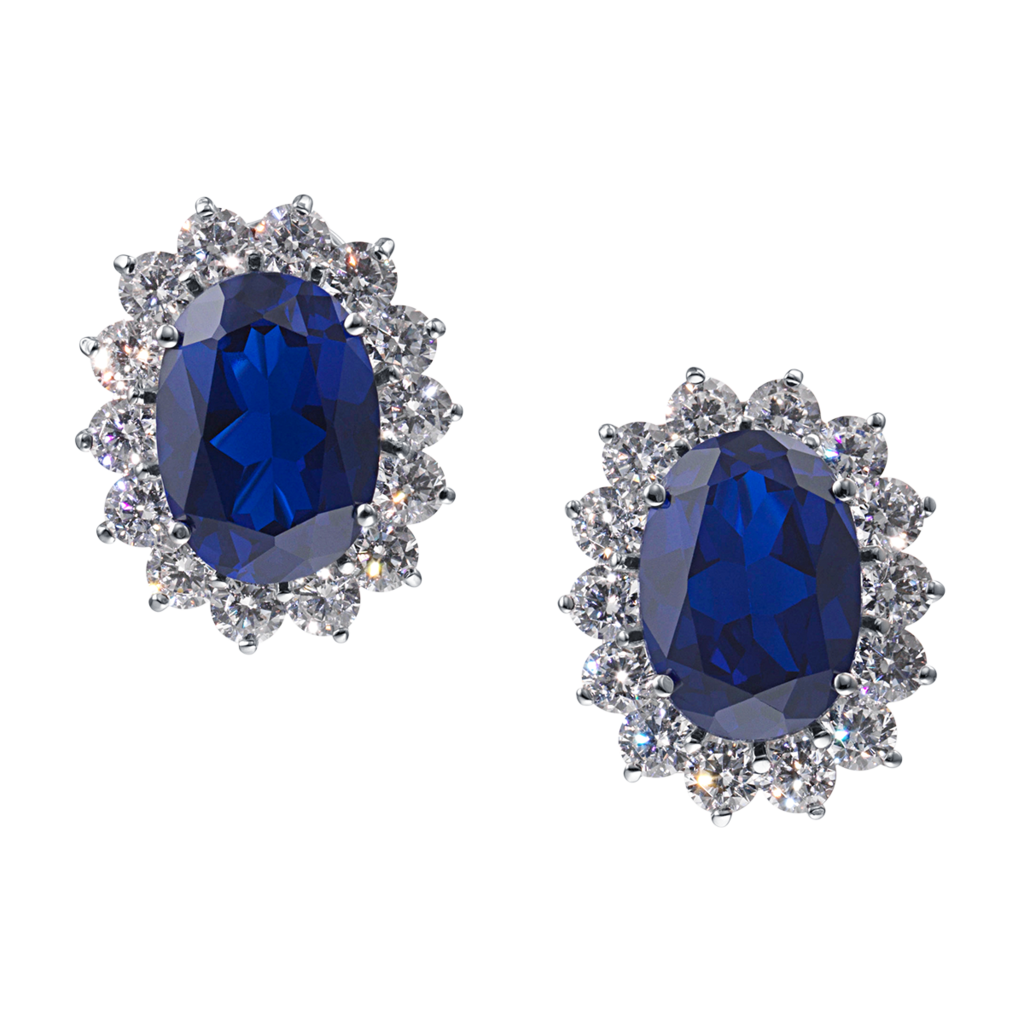 CIRO Jewelry Silver Catherine omega clip on earrings blue